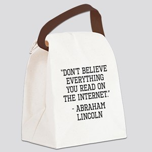 Abraham Lincoln Internet Quote Canvas Lunch Bag