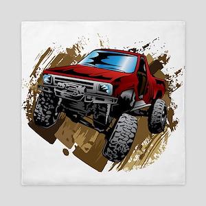 muddy red Chevy truck Queen Duvet