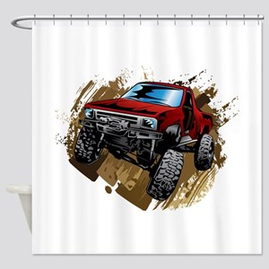 muddy red Chevy truck Shower Curtain