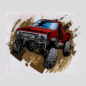 muddy red Chevy truck Throw Blanket