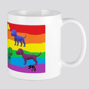GAY RAINBOW DOGS ART Mugs
