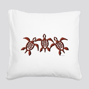 Trible Turtles Square Canvas Pillow
