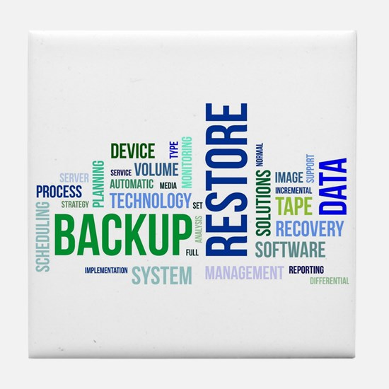 word cloud - backup restore Tile Coaster