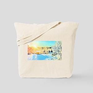 Sunrise over Tiny House Tote Bag