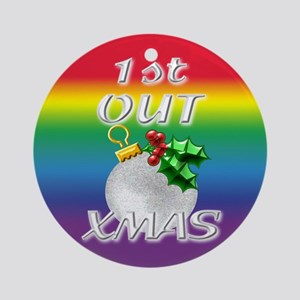 1st Out Xmas Rainbow Gay Gift Ornament (Round)
