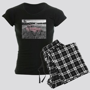 vintage pink car Women's Dark Pajamas