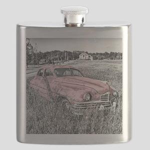 vintage pink car Flask