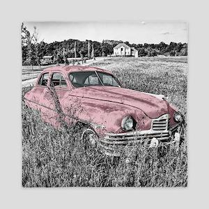 vintage pink car Queen Duvet