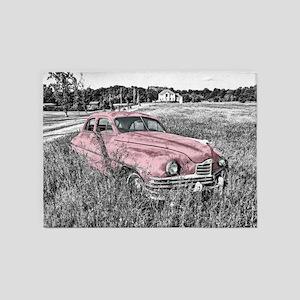 vintage pink car 5'x7'Area Rug