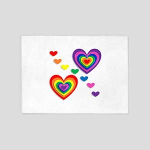rainbow hearts valentines day 5'x7'Area Rug