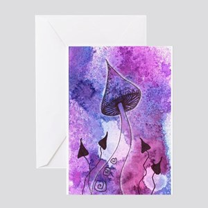 Purple Mushrooms Greeting Cards