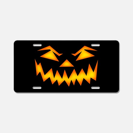 Scary Pumpkin Face D Aluminum License Plate