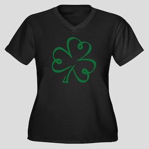 Shamrock clo Women's Plus Size V-Neck Dark T-Shirt