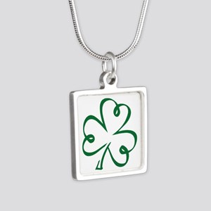 Shamrock clover Silver Square Necklace