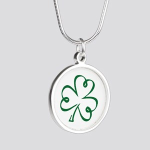 Shamrock clover Silver Round Necklace