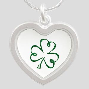 Shamrock clover Silver Heart Necklace