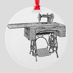 vintage sewing machine Round Ornament