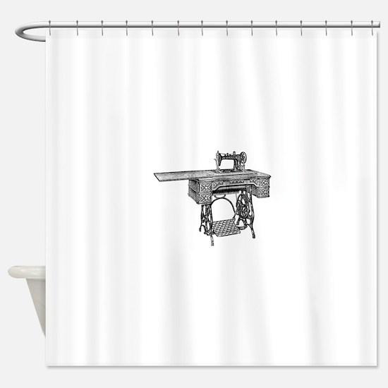 vintage sewing machine Shower Curtain