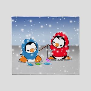 Fishing Penguins Throw Blanket