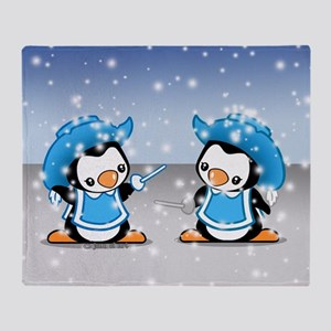 Musketeer Penguins Throw Blanket