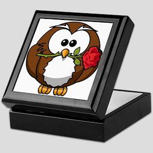 Cartoon Owl with Red Rose Keepsake Box