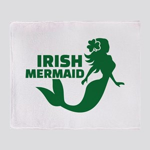 Irish mermaid Throw Blanket