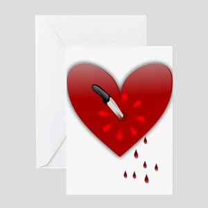 anti valentines bloody heart Greeting Cards