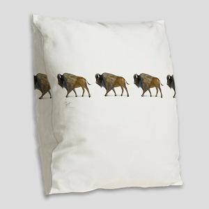 Buffalos Burlap Throw Pillow