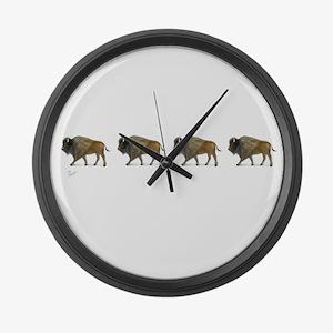 Buffalos on the way Large Wall Clock