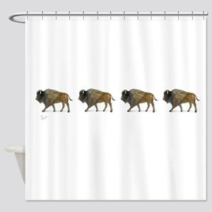 Buffalos on the way Shower Curtain