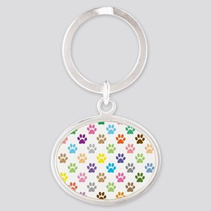 Colorful puppy paw print pattern Keychains