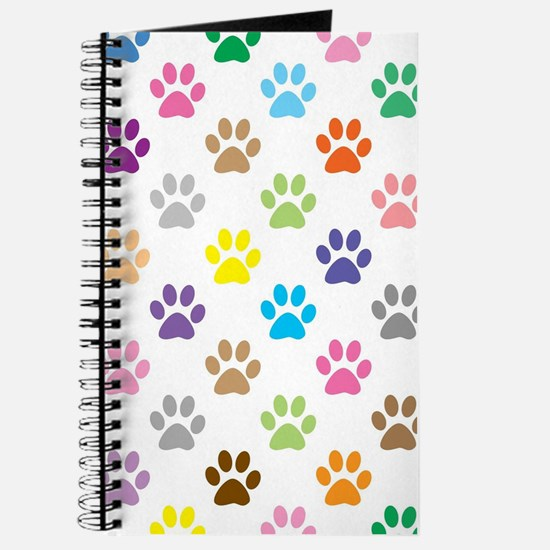 Colorful puppy paw print pattern Journal