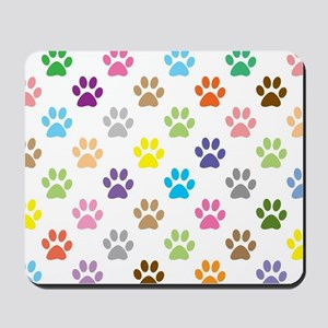 Colorful puppy paw print pattern Mousepad