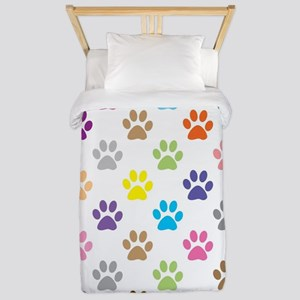 Colorful puppy paw print pattern Twin Duvet
