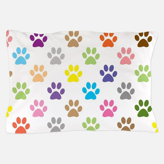 Colorful puppy paw print pattern Pillow Case