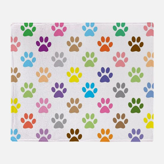 Colorful puppy paw print pattern Throw Blanket