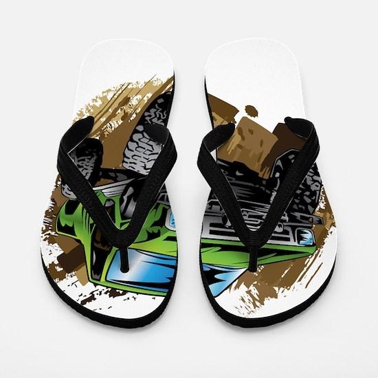 truck-green-crawl-mud Flip Flops