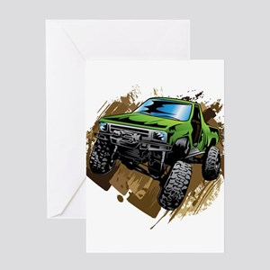 truck-green-crawl-mud Greeting Cards