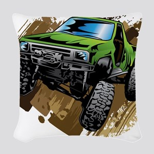 truck-green-crawl-mud Woven Throw Pillow