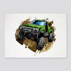 truck-green-crawl-mud 5'x7'Area Rug
