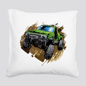 truck-green-crawl-mud Square Canvas Pillow