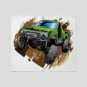 truck-green-crawl-mud Throw Blanket