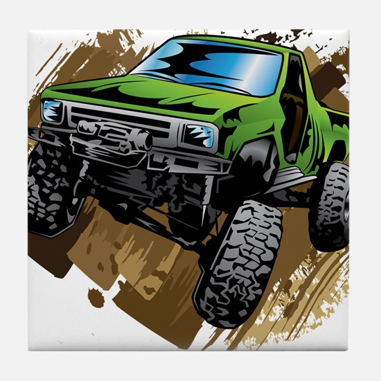 truck-green-crawl-mud Tile Coaster