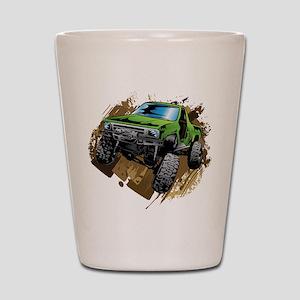 truck-green-crawl-mud Shot Glass