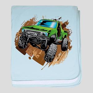 truck-green-crawl-mud baby blanket