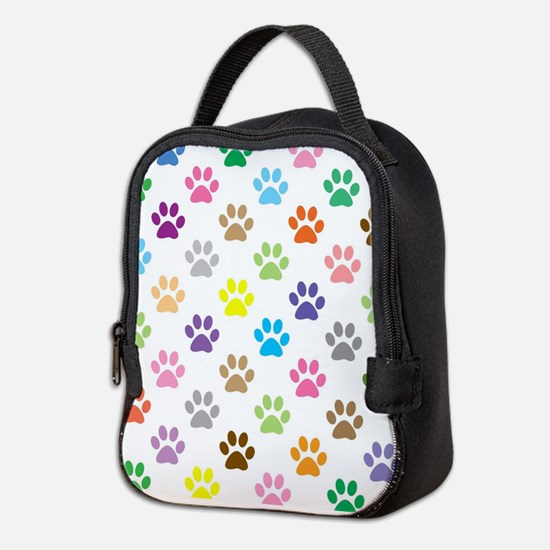 Colorful puppy paw print patter Neoprene Lunch Bag