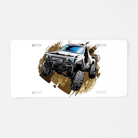 White Muddy Toyota Truck Aluminum License Plate