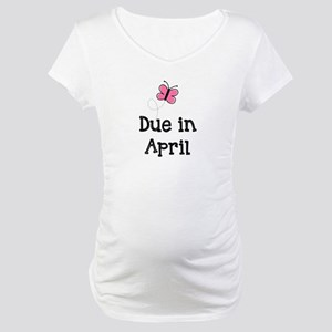 Due in April Butterfly Maternity T-Shirt