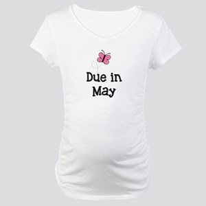 Due in May Butterfly Maternity T-Shirt