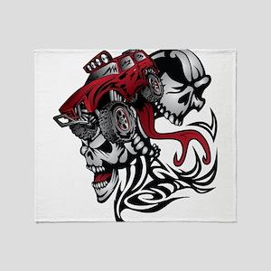 Skull Roller Truck Throw Blanket